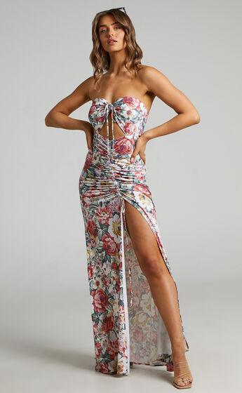 Alenka Halter Neck Ruched Centre Maxi Dress in Heritage Floral
