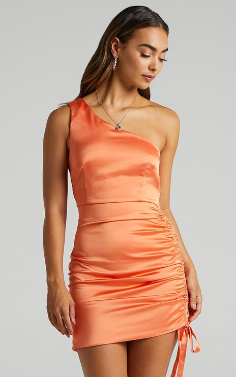 Isildur Dress in Orange Satin