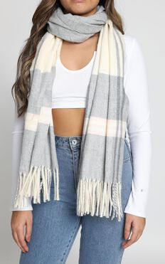 Waking Up Slow Scarf In Grey And Blush