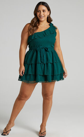 Darling I Am A Daydream One Shoulder Ruffle Mini Dress in Emerald