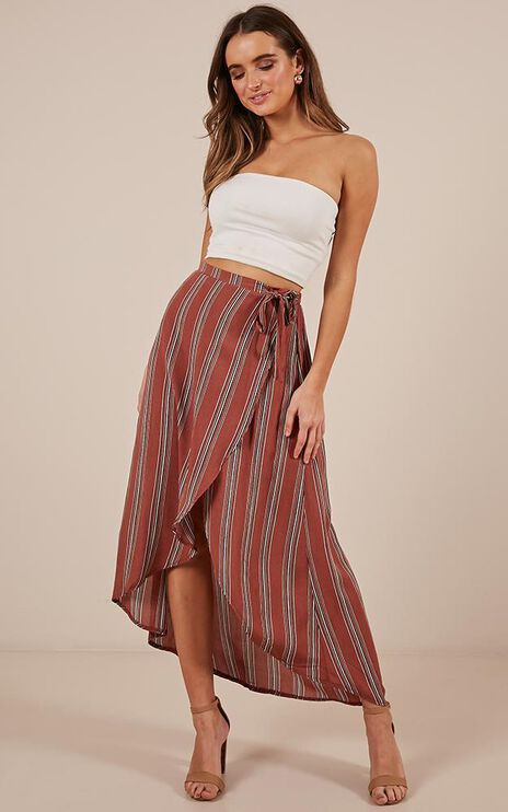 Moving Up Skirt In Rust Stripe