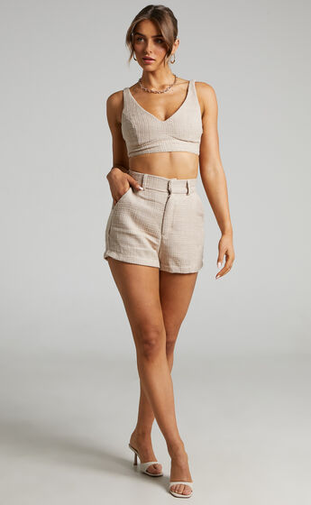 Melbourne Twill Two Piece Short Set in Stone