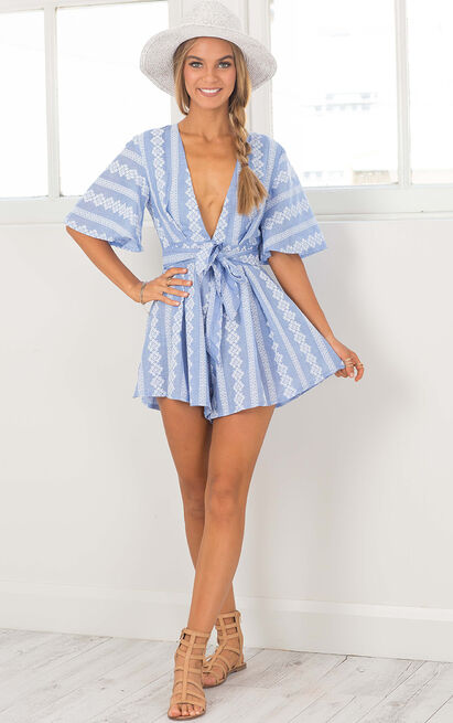 Break The Bar Playsuit in teal lace - 20 (XXXXL), Blue, hi-res image number null