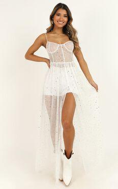 Stunning View Maxi Dress In White Mesh