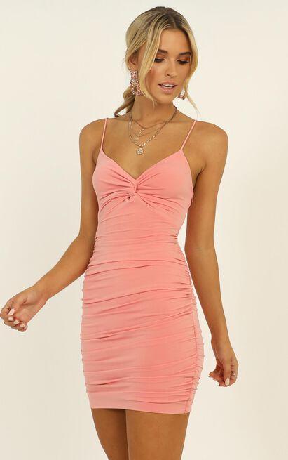 Let's Pretend Knot Front Dress in pink - 12 (L), Pink, hi-res image number null