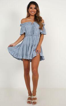 Wish Me Lucky Dress In Blue Stripe