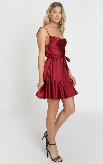 Like You Never Know Dress in wine satin - 12 (L), Wine, hi-res image number null
