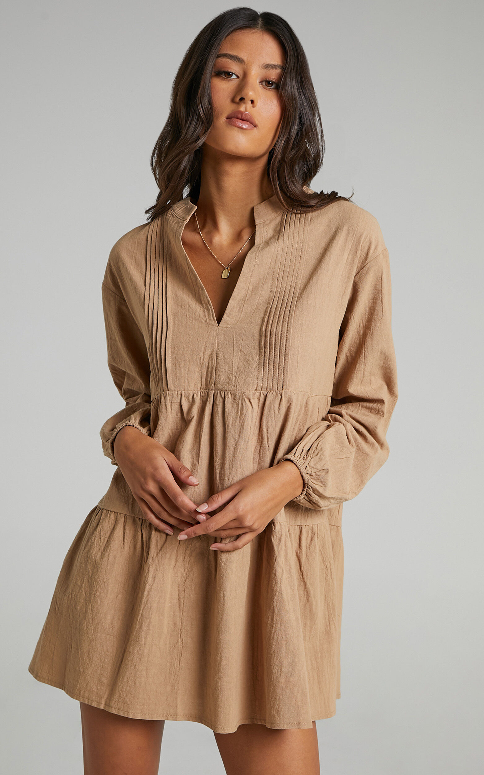 Estelita Dress in Beige - 04, BRN1, super-hi-res image number null