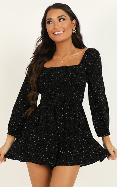 Hitting The Town Playsuit in black print - 20 (XXXXL), Black, hi-res image number null