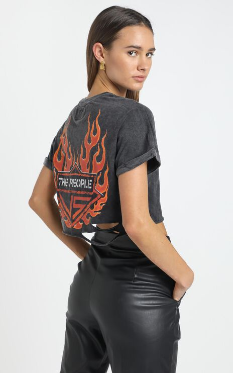 The People Vs - Flame Unite Crop Tee in Black Acid