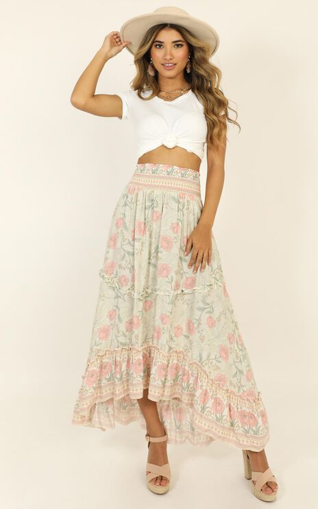 Don't Call Me Up Skirt In Sage Floral