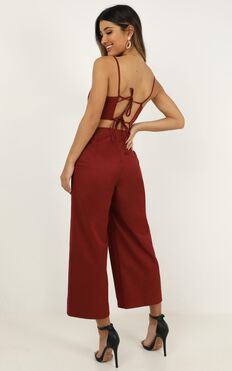 Criteria Met Jumpsuit In Wine