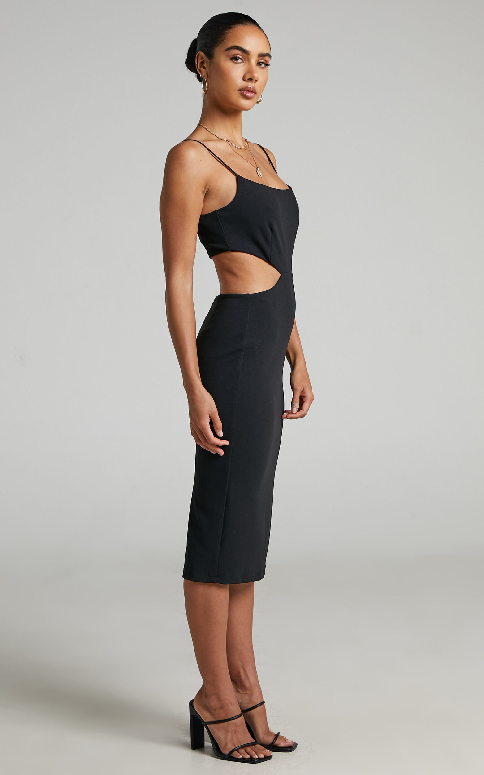 Honalei Cut out midi dress in Black - 04, BLK1, super-hi-res image number null