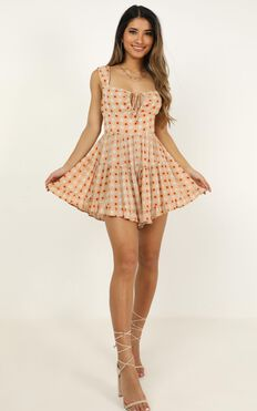 Pieces Of Us Playsuit In Beige Floral