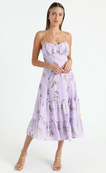 Monaco Sweetheart Midi Dress in Lavender Botanical Floral