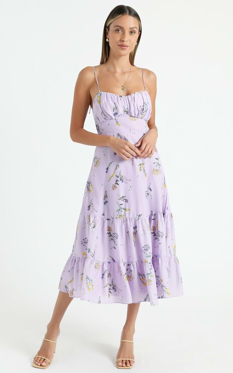 Monaco Dress in Lavender Botanical Floral