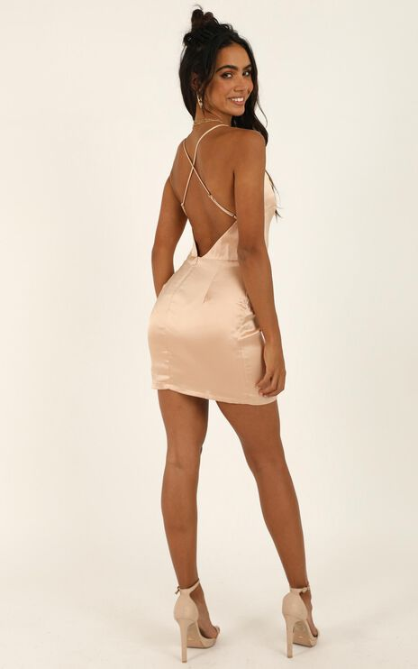Call Me Home Dress In Champagne Satin