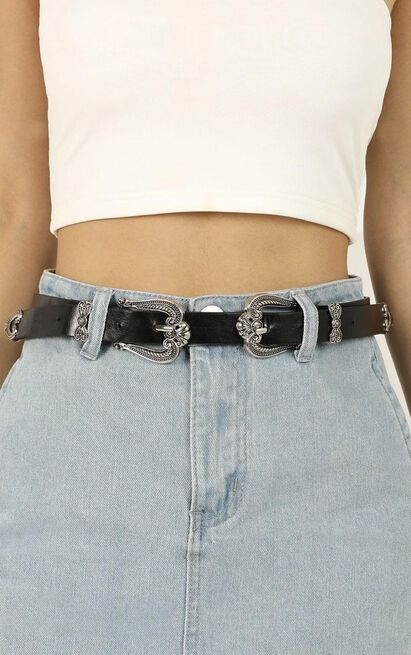 Let You Love Me Belt In Black And Silver, , hi-res image number null