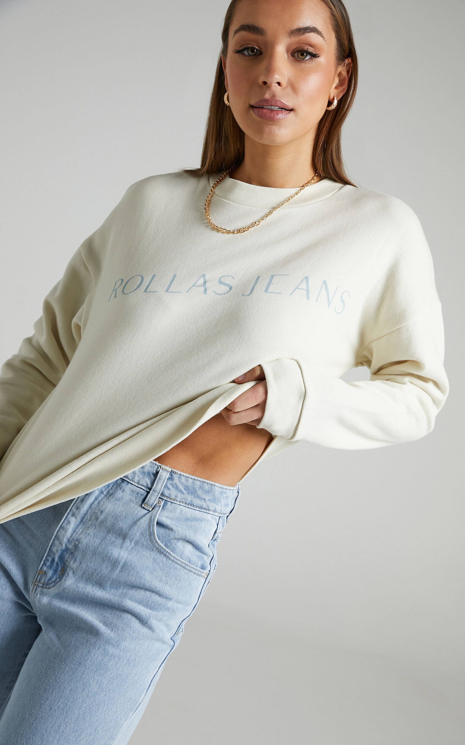 Rollas x Sofia Richie - Editorial Slouch Sweater in Salt - 06, WHT1, super-hi-res image number null