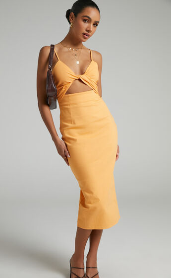 Runaway The Label - Sendai Midi Dress in Orange