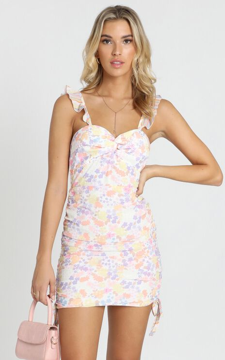 We Got The Flowers Dress In Multi Floral Stripe