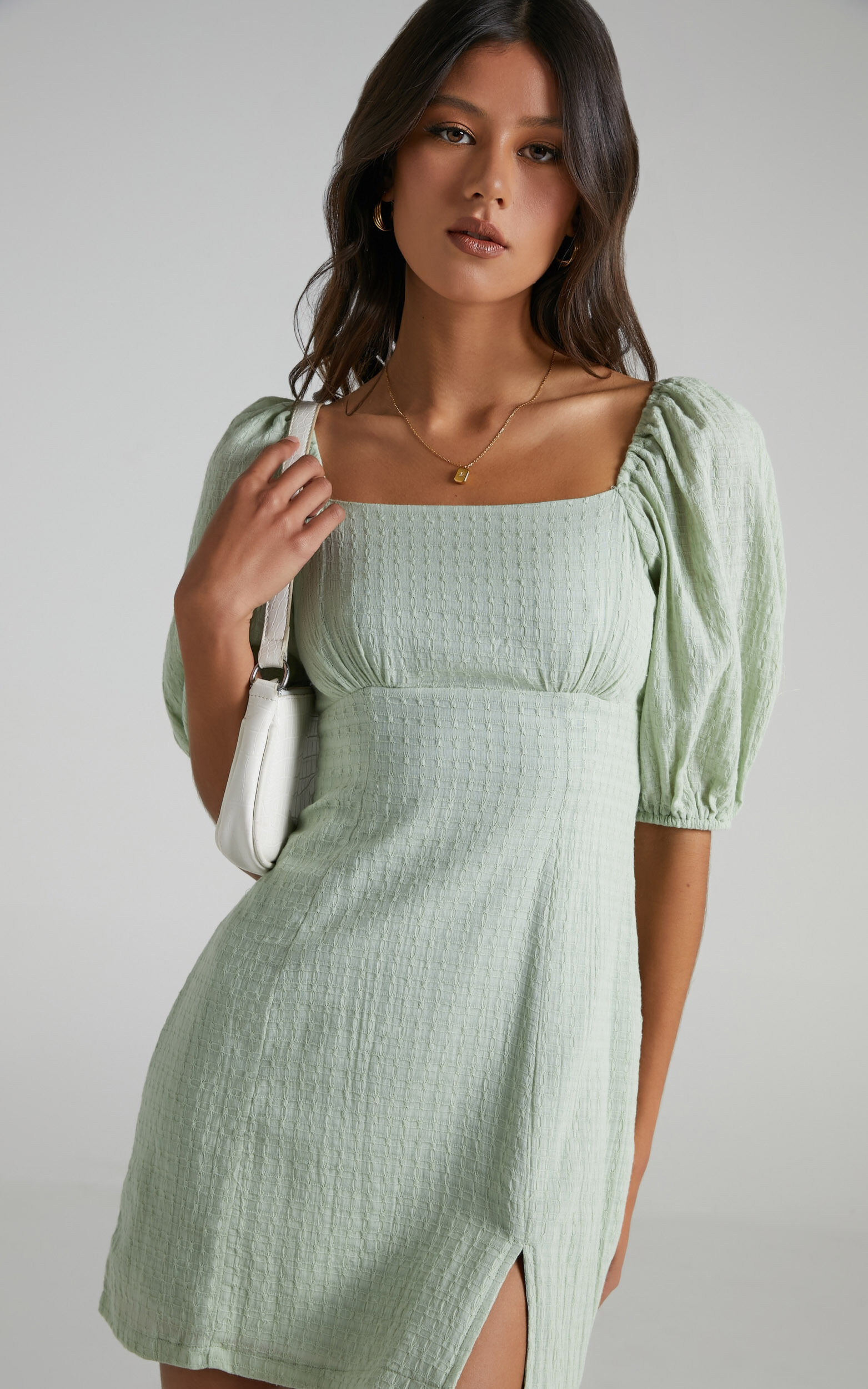 Electric Babe Square Neck Puff Sleeve Mini Dress in Sage - 16, GRN3, super-hi-res image number null