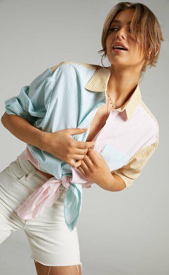 Autumn Contrast Stripe Oversized Shirt in Multi Stripe