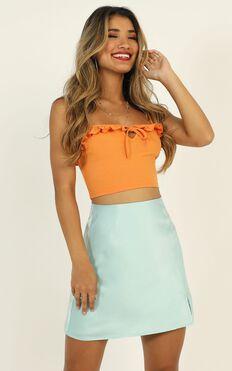 Mini Slip Skirt In Sky Blue Satin