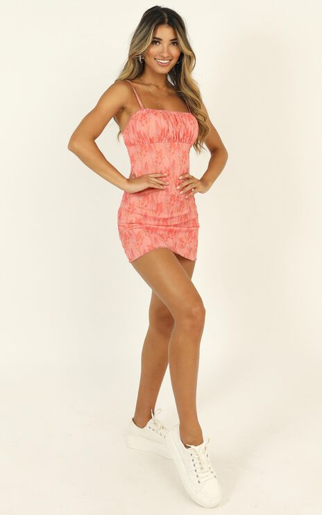 Walls Caving In Dress In Peach Print