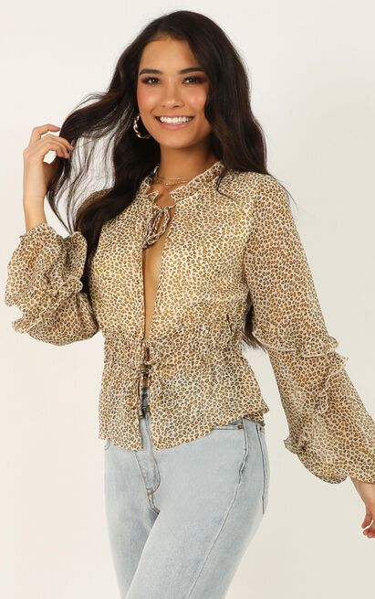 Know Your Power top in leopard print - 12 (L), Brown, hi-res image number null