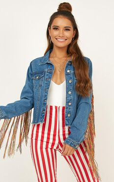 Come For Me Denim Jacket In Blue Wash