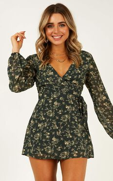 Cute Girl Playsuit In Emerald Floral