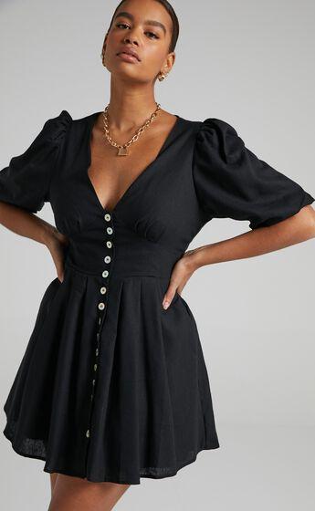 Lovey Dovey Dress in Black Linen Look