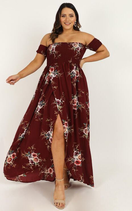Lovestruck Maxi Dress In Wine Floral