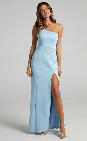 No Ones Fault One Shoulder Maxi Dress in Light Blue