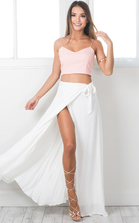 Break A Leg Maxi Skirt In White