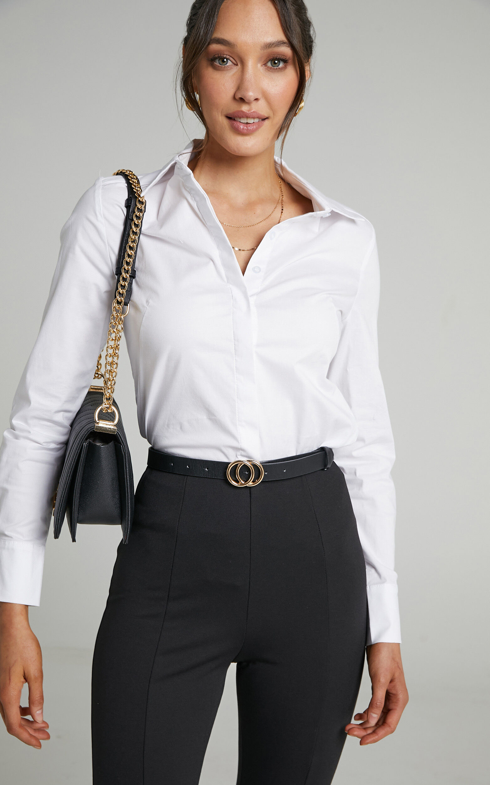 Briannon Longsleeve Fitted Collared Button Up Shirt in White - 06, WHT1, super-hi-res image number null