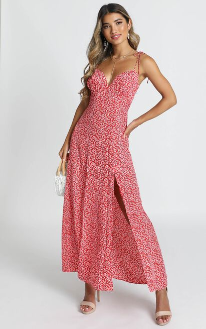 Groove On Dress in red floral print  - 20 (XXXXL), Red, hi-res image number null