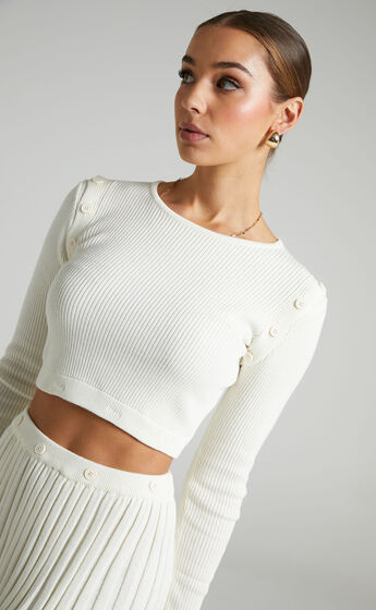 Isador Button Detail Knit Top in Winter White
