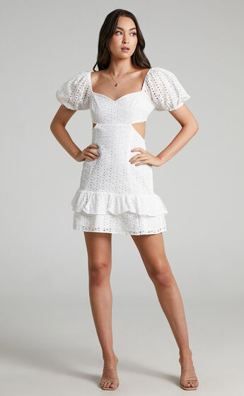 Levieth Mini Embroidery Dress in White
