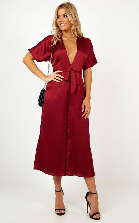 Starting The Night Jumpsuit In Wine Satin