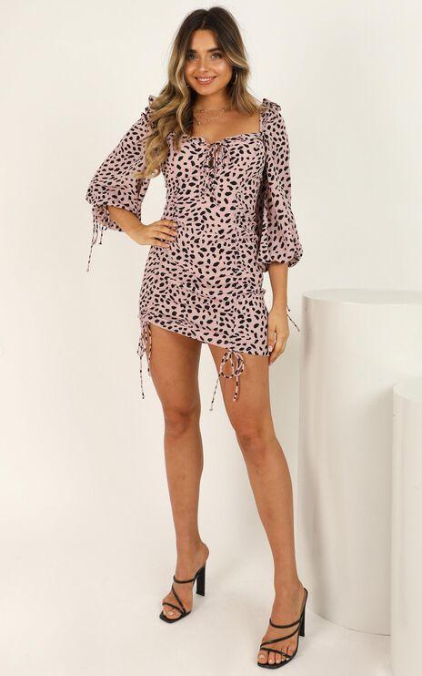 Take It Out Dress In Pink Animal Print