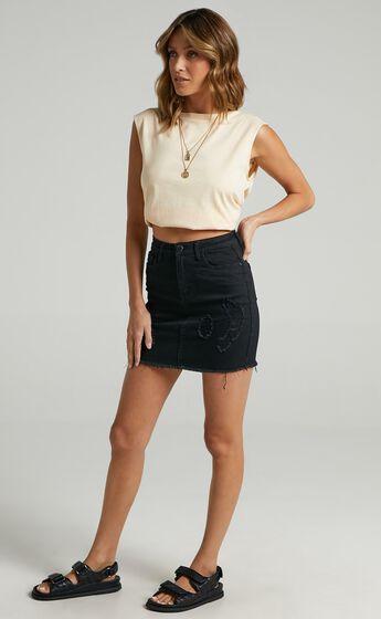 Malibu Sunset Denim Skirt in Black
