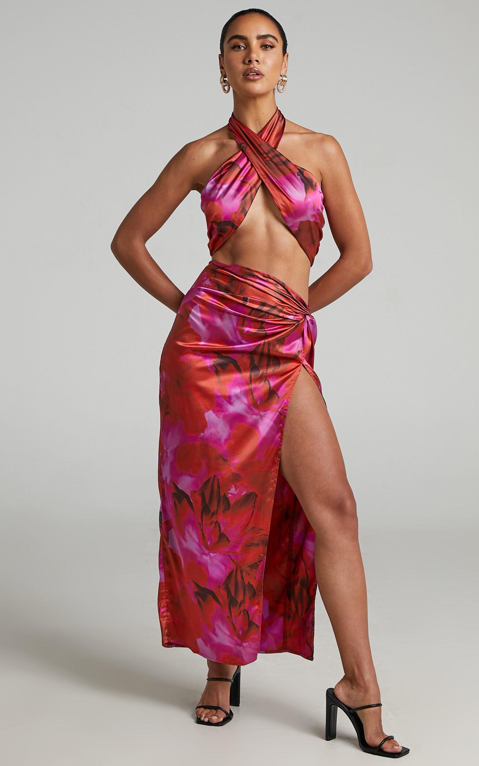 RUNAWAY THE LABEL - SCARLETT TOP in Pink Floral - L, PNK1, super-hi-res image number null