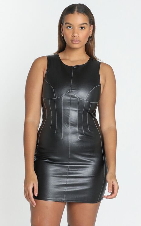 Lioness - Le Chateau Mini Dress in Black PU