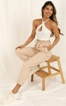 Not Your Business Pants In Beige Linen Look