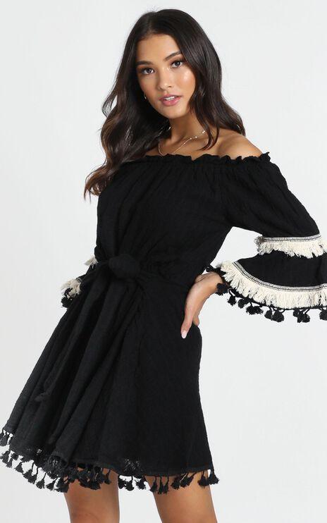 Gianna Trim Detail Bardot Dress In Black