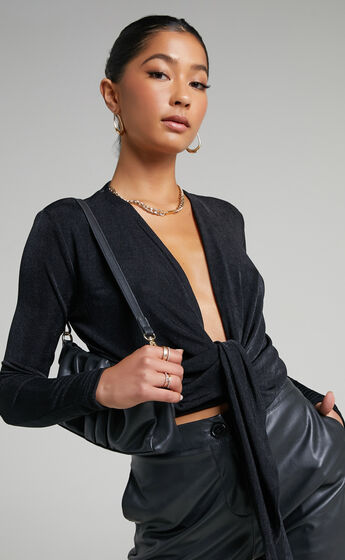 Cortez Plunging Centre Front Waist Tie Top in Black