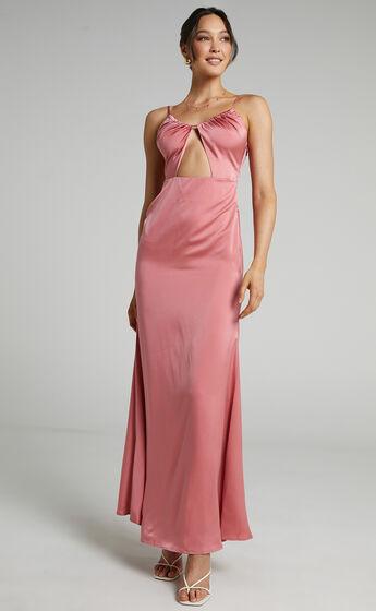 Lisah Maxi Dress in Dusty Rose Satin