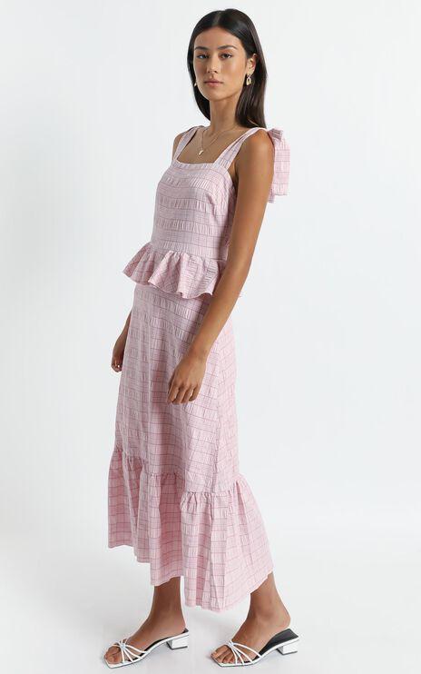 Alane Dress in Blush Check